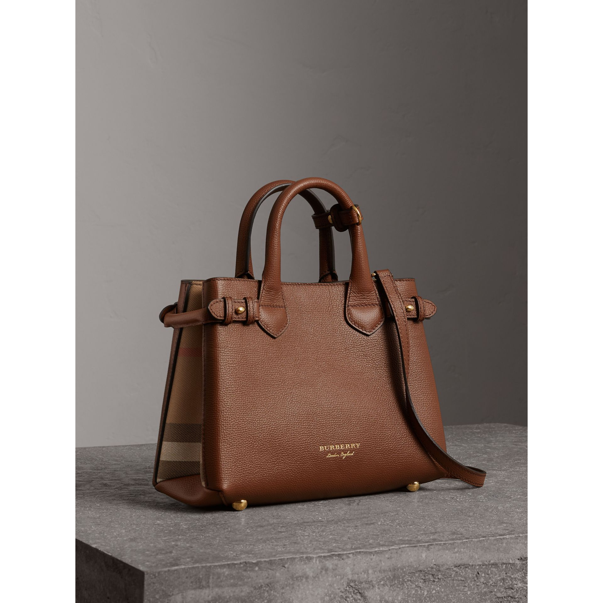 The Small Banner in Leather and House Check in Tan - Women | Burberry United Kingdom - gallery image 0