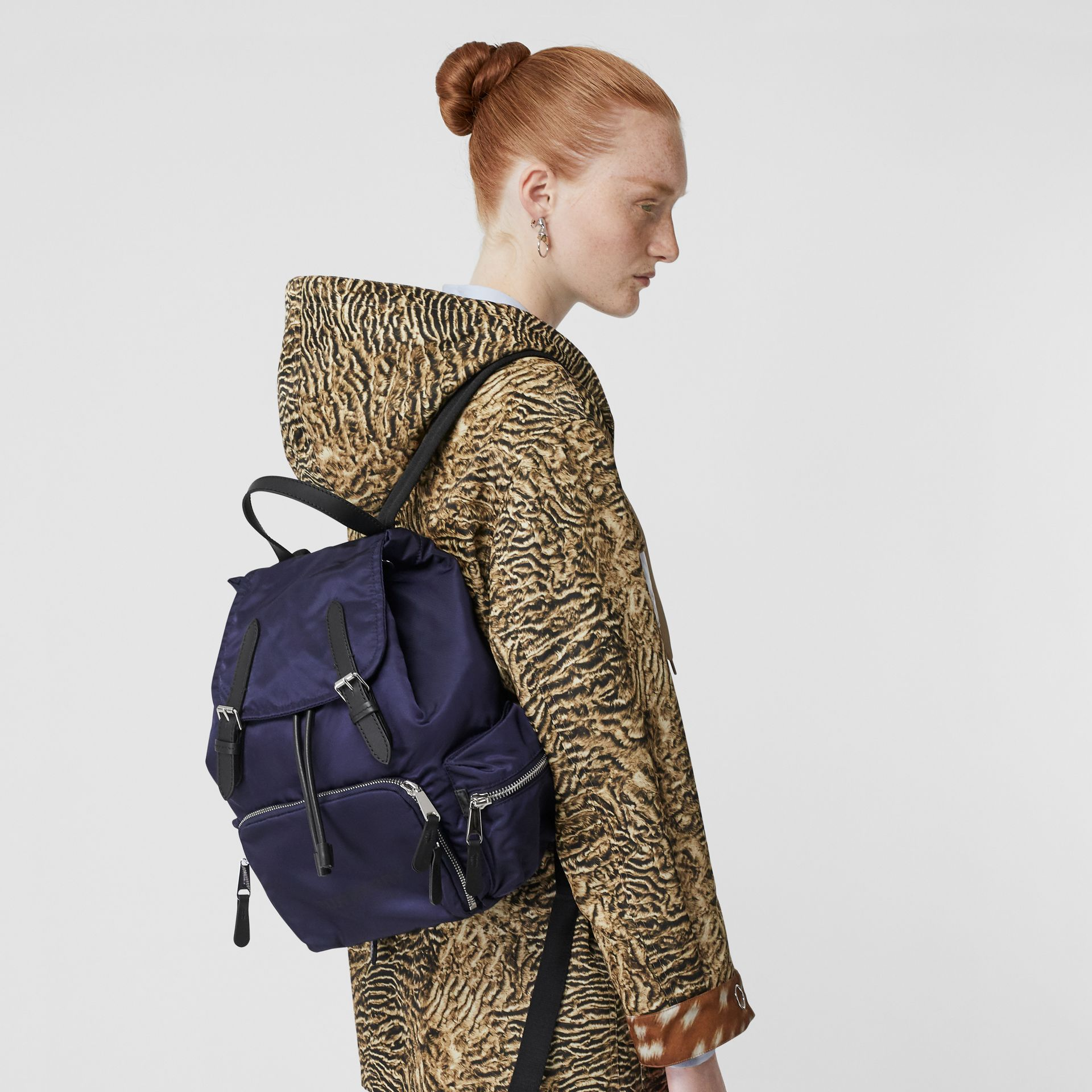 The Medium Rucksack in Logo Print Nylon in Navy Blue - Women | Burberry Australia - gallery image 2