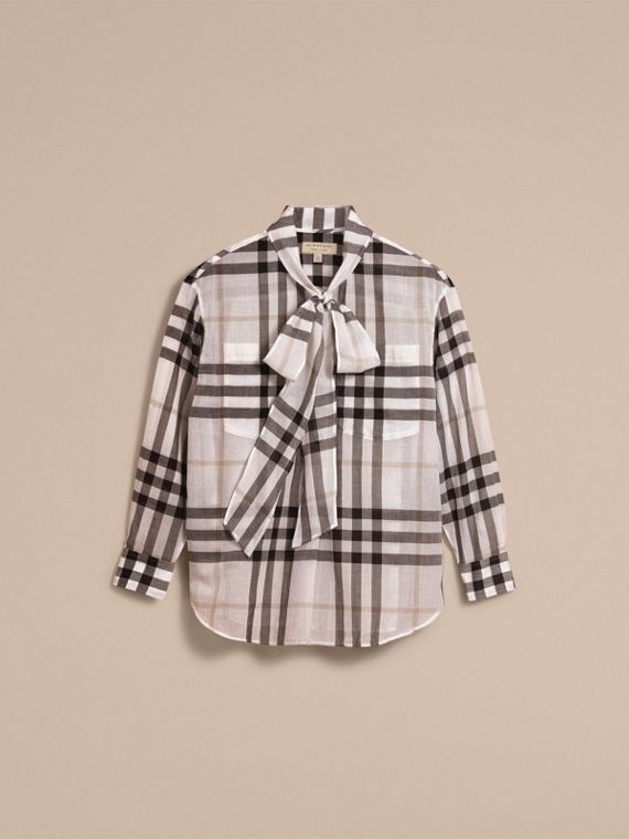 Check Tie Neck Cotton Shirt White - cell image 3