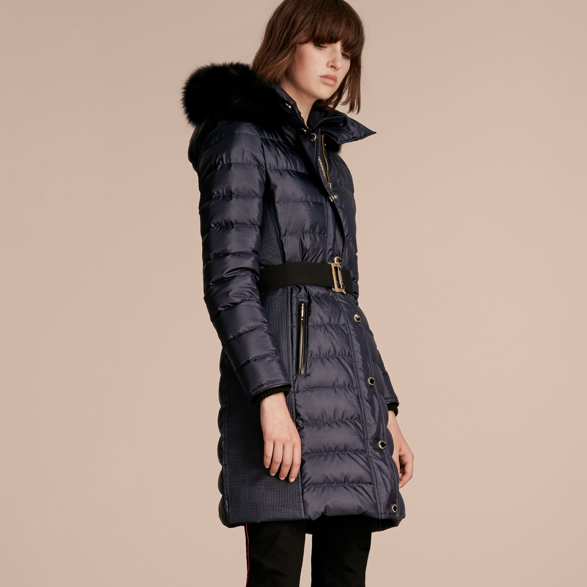 Navy Down-filled Coat with Fur-trimmed Hood Navy - gallery image 7