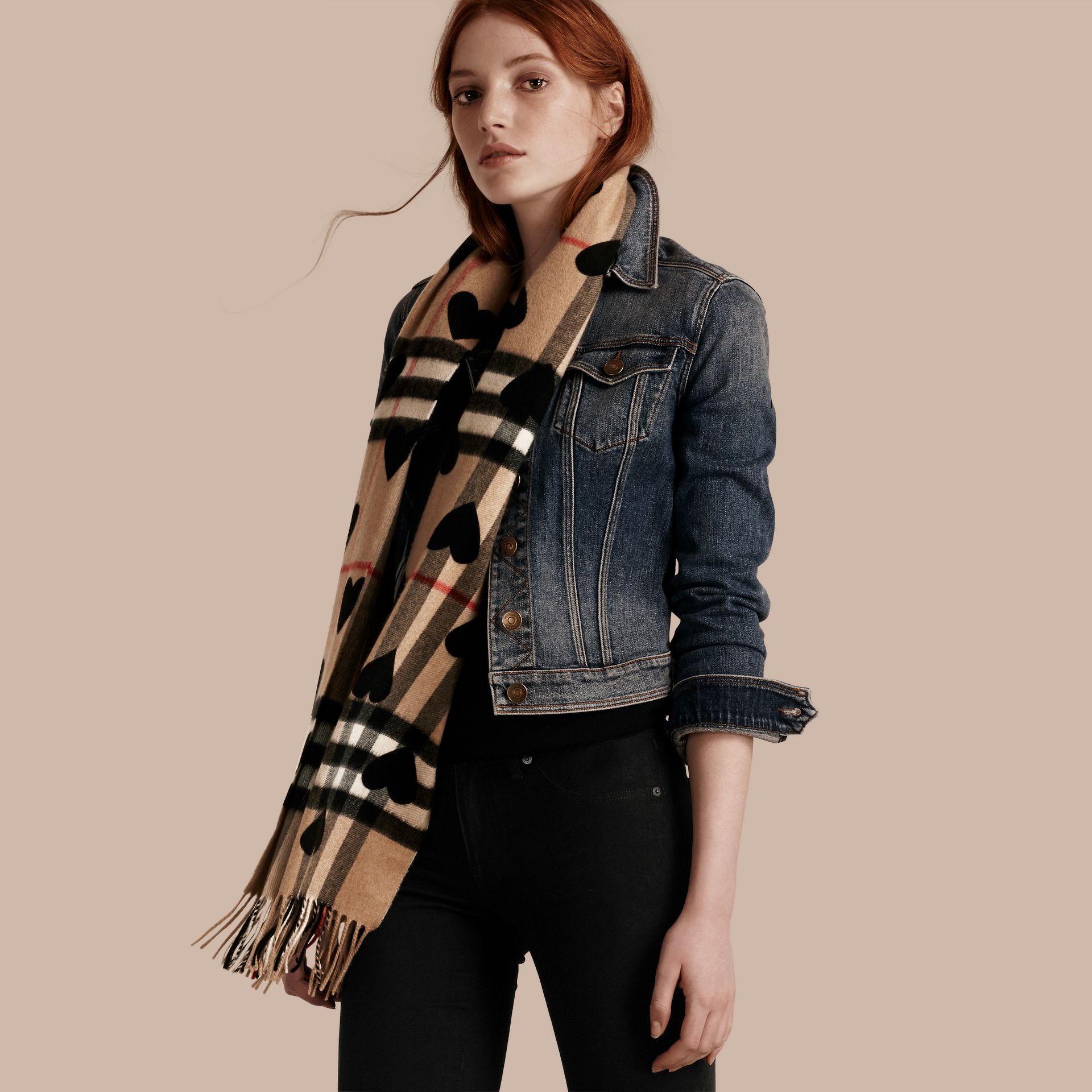 The Classic Cashmere Scarf in Check and Hearts in Black - gallery image 3