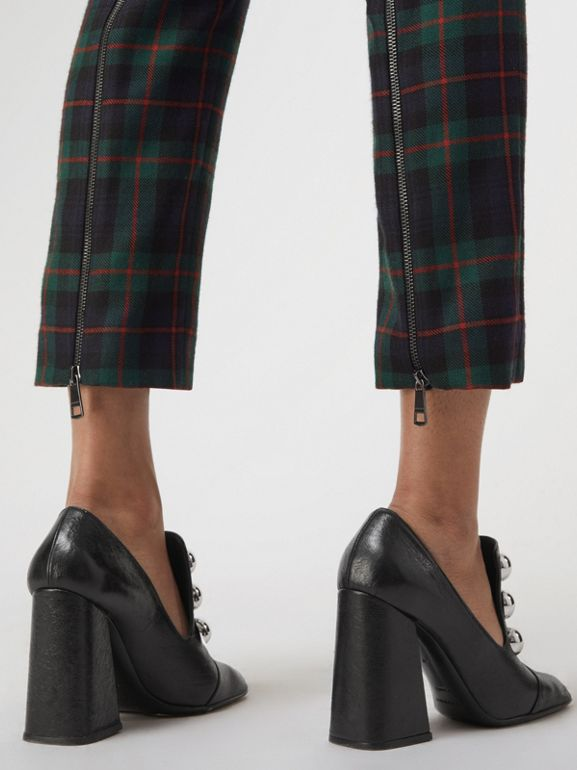 Zip Detail Check Wool Blend Trousers in Navy - Women | Burberry - cell image 1