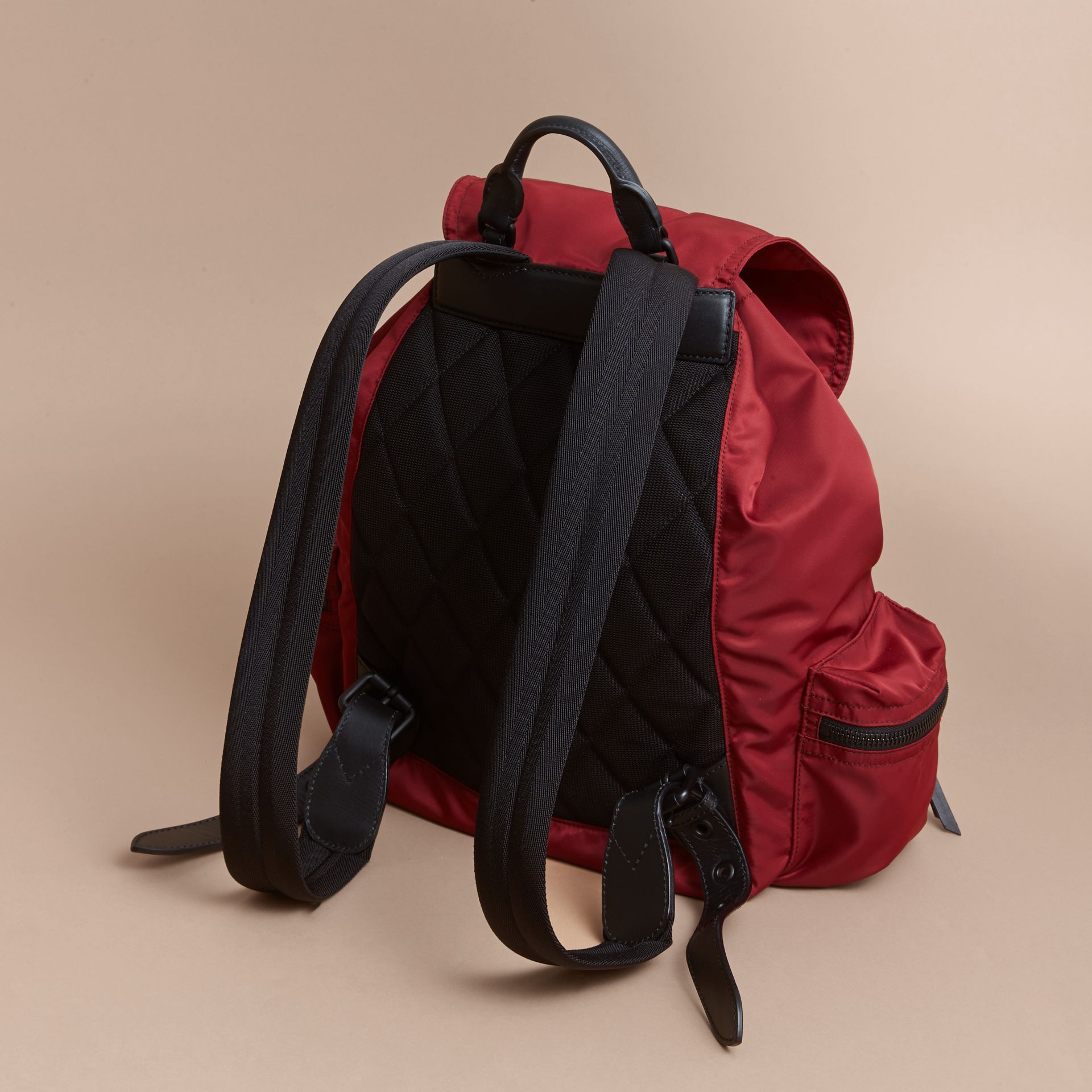 The Large Rucksack in Technical Nylon and Leather in Antique Red - Men | Burberry Singapore - gallery image 4