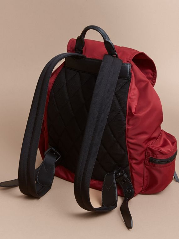 The Large Rucksack in Technical Nylon and Leather in Antique Red - Men | Burberry - cell image 3