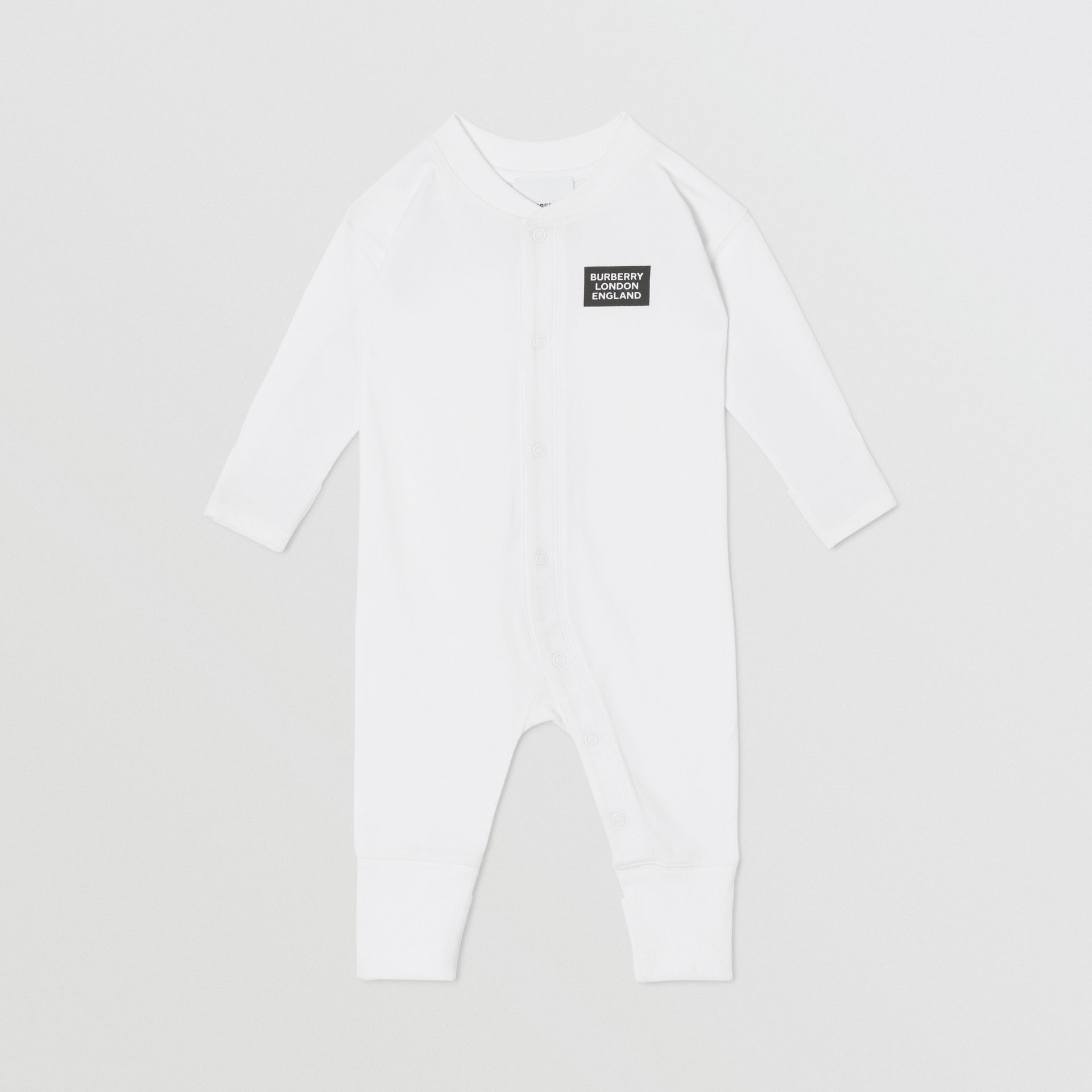Check Trim Organic Cotton Three-piece Baby Gift Set in White - Children | Burberry United Kingdom - gallery image 2