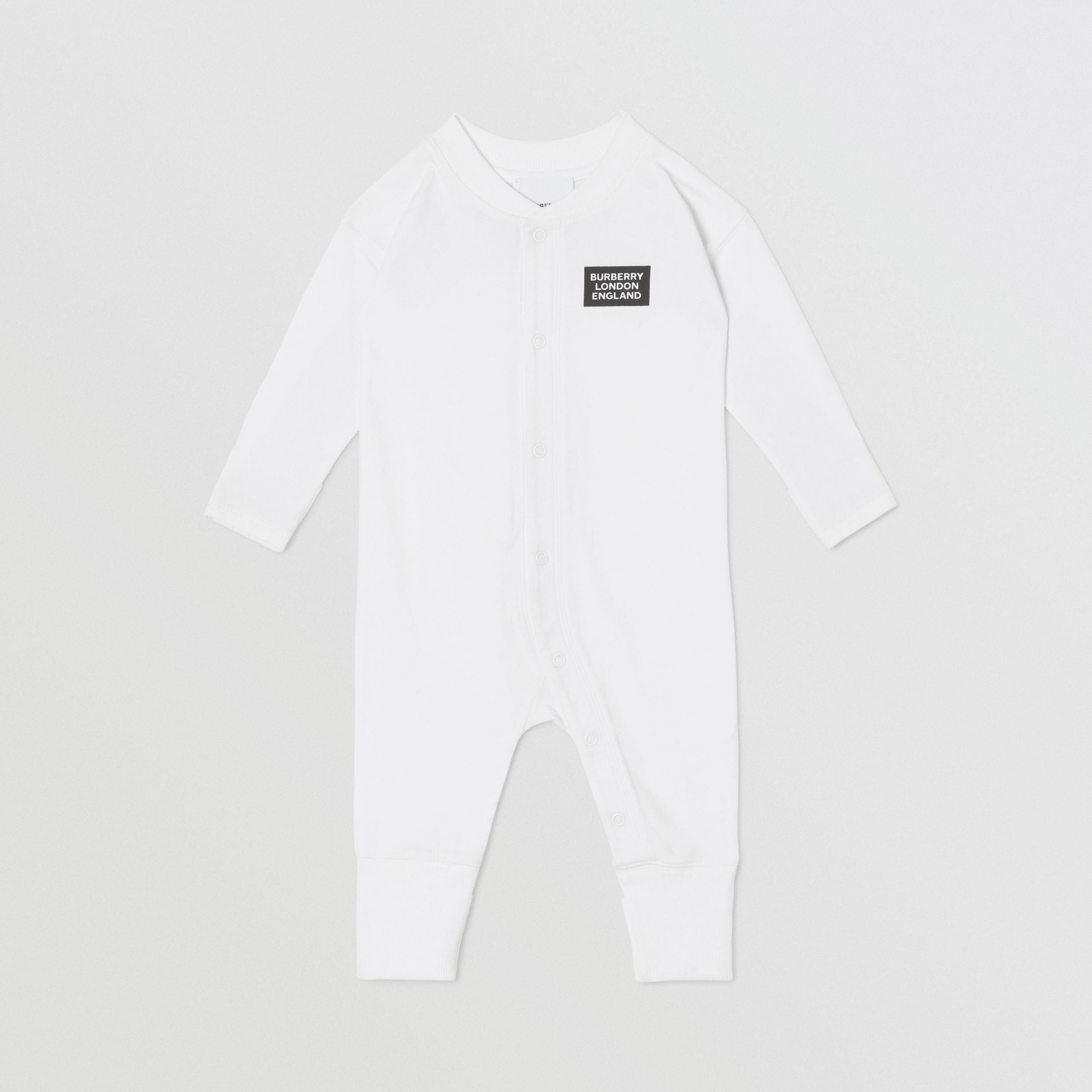 Check Trim Organic Cotton Three-piece Baby Gift Set in White - Children | Burberry - 3