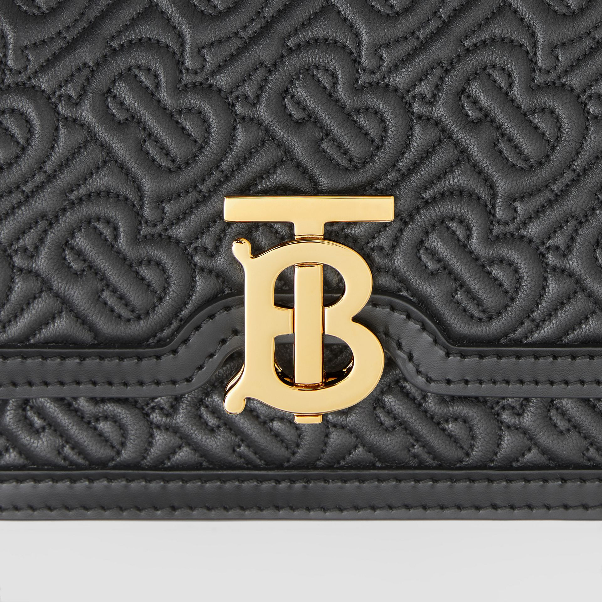 Mini Quilted Monogram Lambskin TB Bag in Black - Women | Burberry United Kingdom - gallery image 1