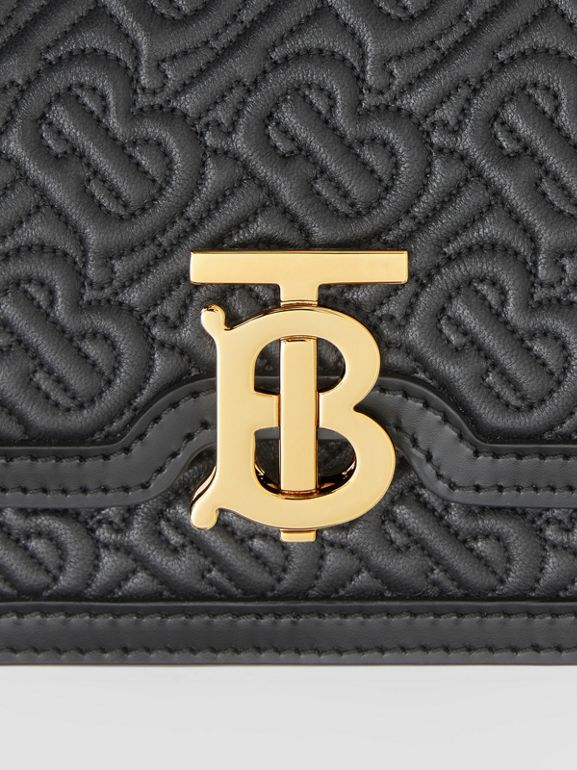 Mini Quilted Monogram Lambskin TB Bag in Black - Women | Burberry United Kingdom - cell image 1