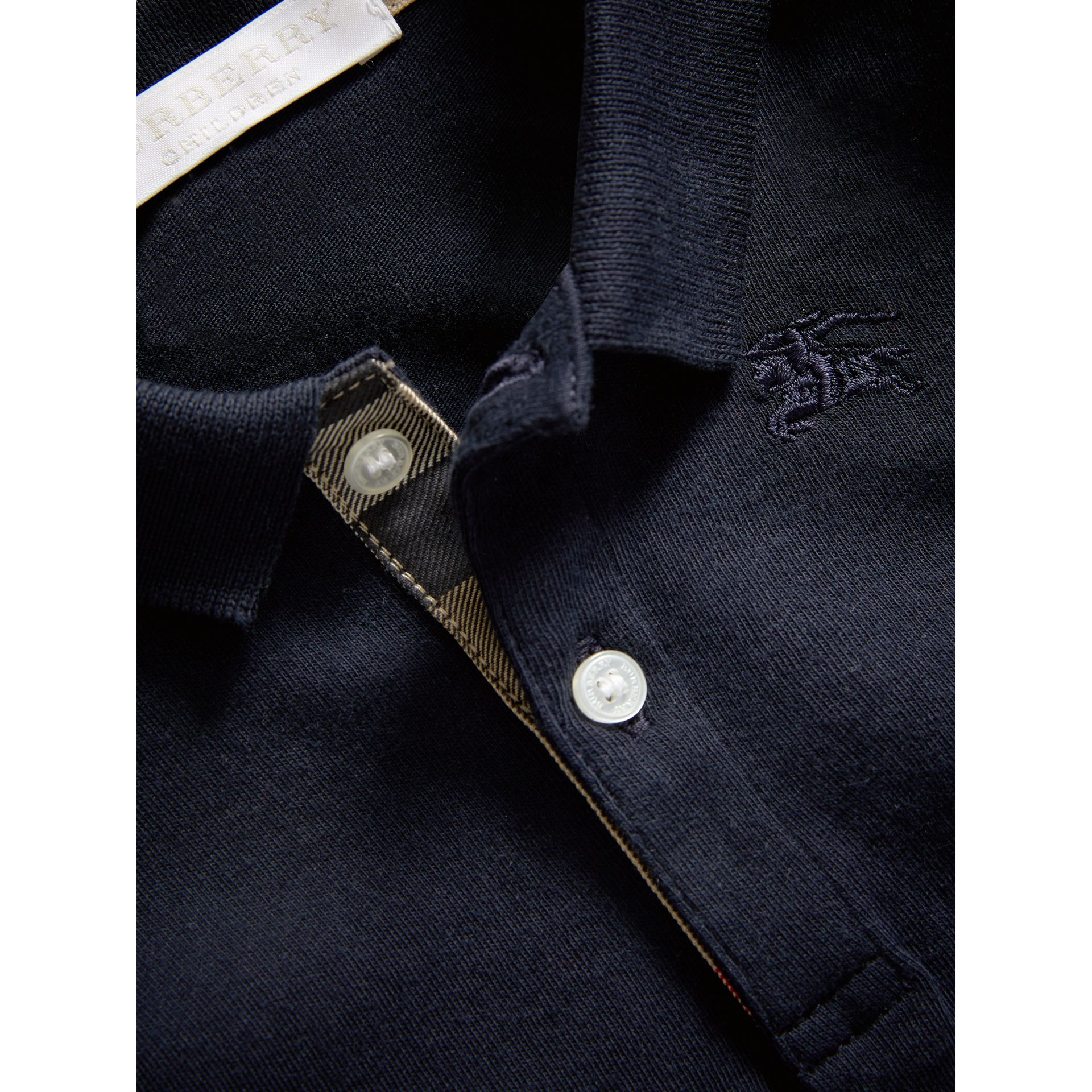 Check Trim Long-sleeved Cotton Polo Shirt in True Navy | Burberry - gallery image 1