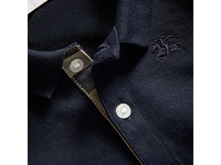 Check Trim Long-sleeved Cotton Polo Shirt in True Navy | Burberry - cell image 1
