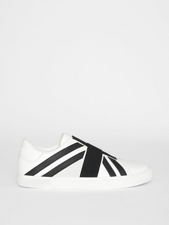 Union Jack Motif Slip-on Sneakers in White