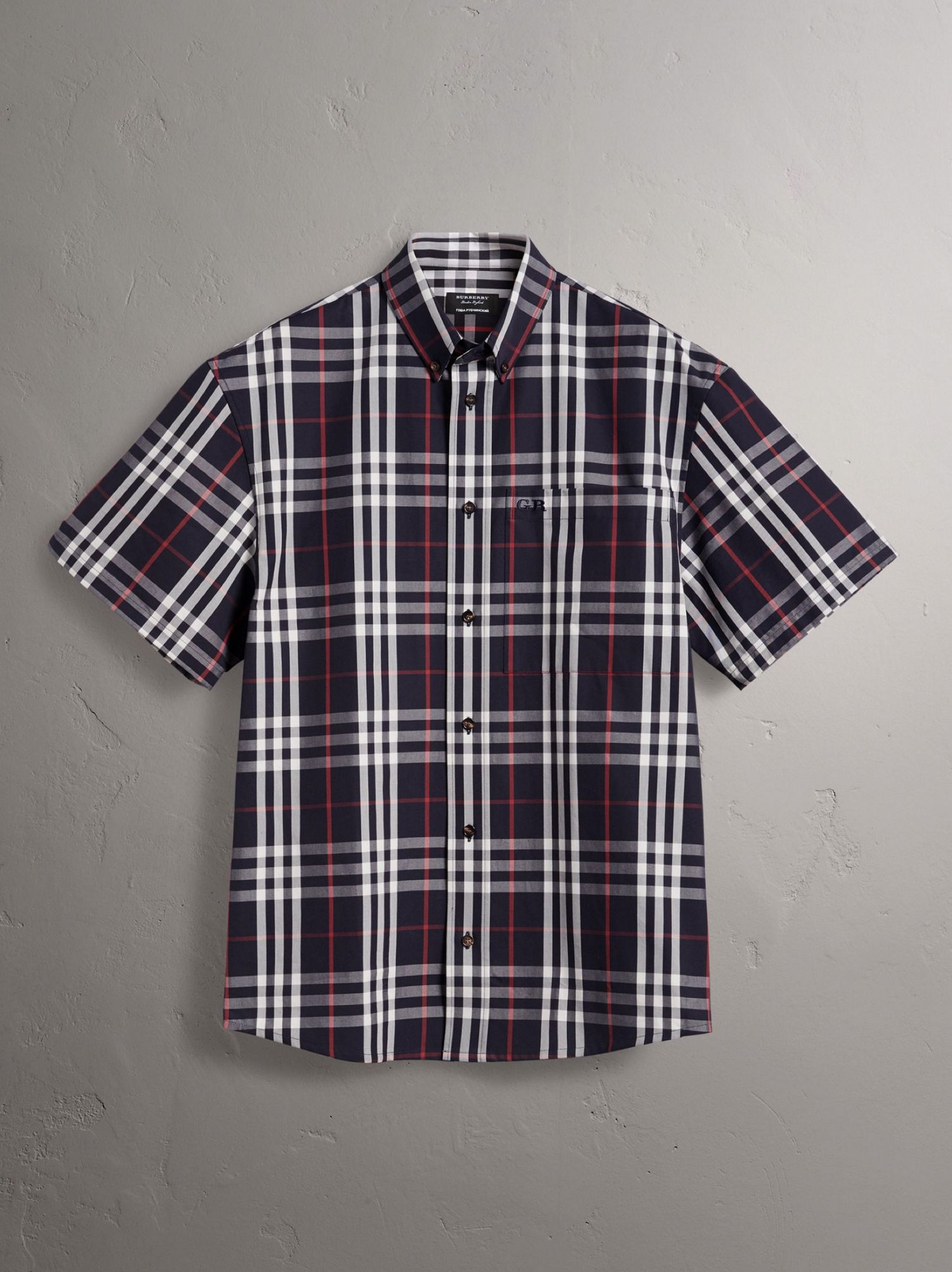 Gosha x Burberry Short-sleeve Check Shirt in Navy
