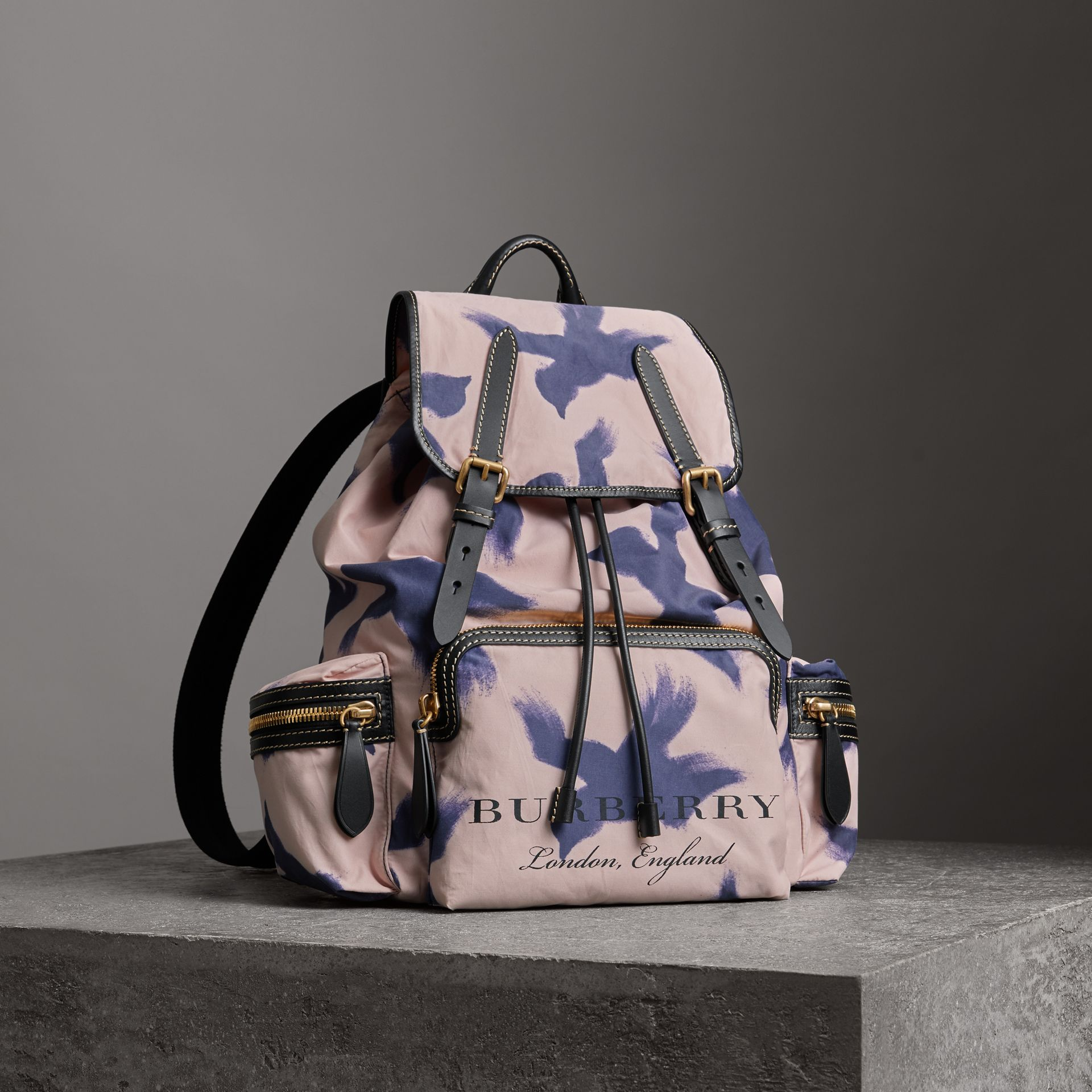The Large Rucksack in Bird Print Canvas and Leather in Multicolour - Men | Burberry United Kingdom - gallery image 0