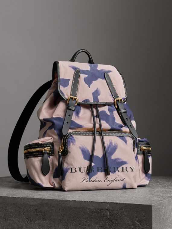 The Large Rucksack in Bird Print Canvas and Leather in Multicolour