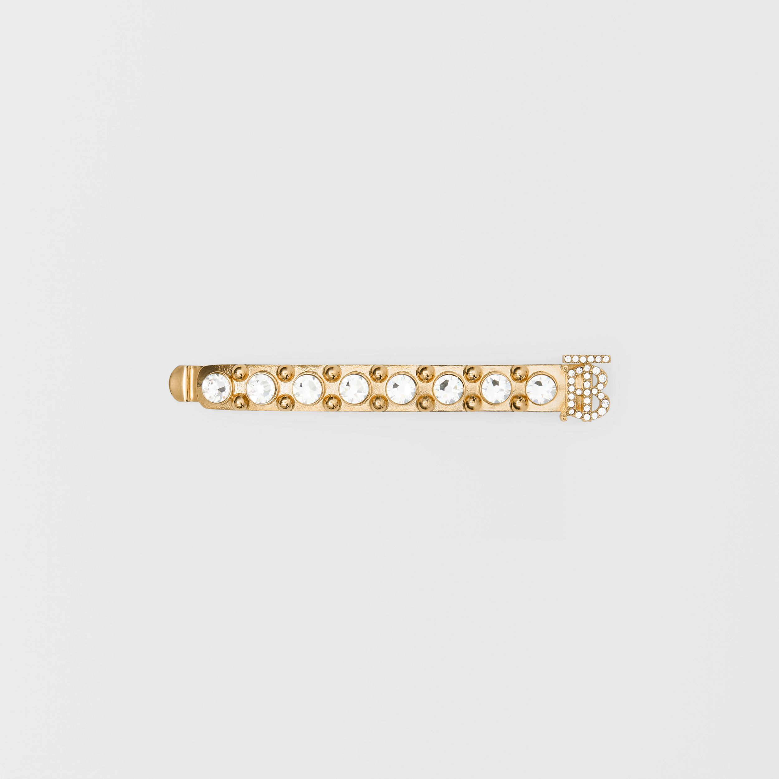 Crystal Monogram Motif Gold-plated Barrette in Light | Burberry - 1