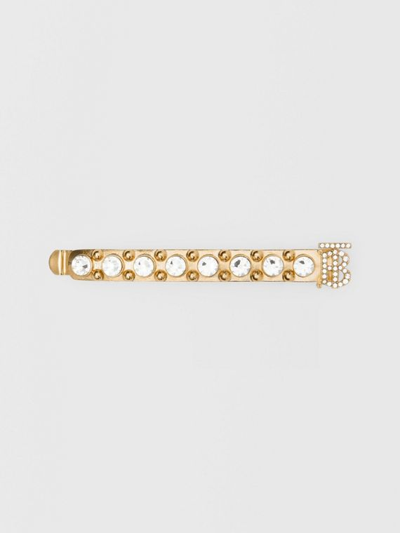 Crystal Monogram Motif Gold-plated Barrette in Light