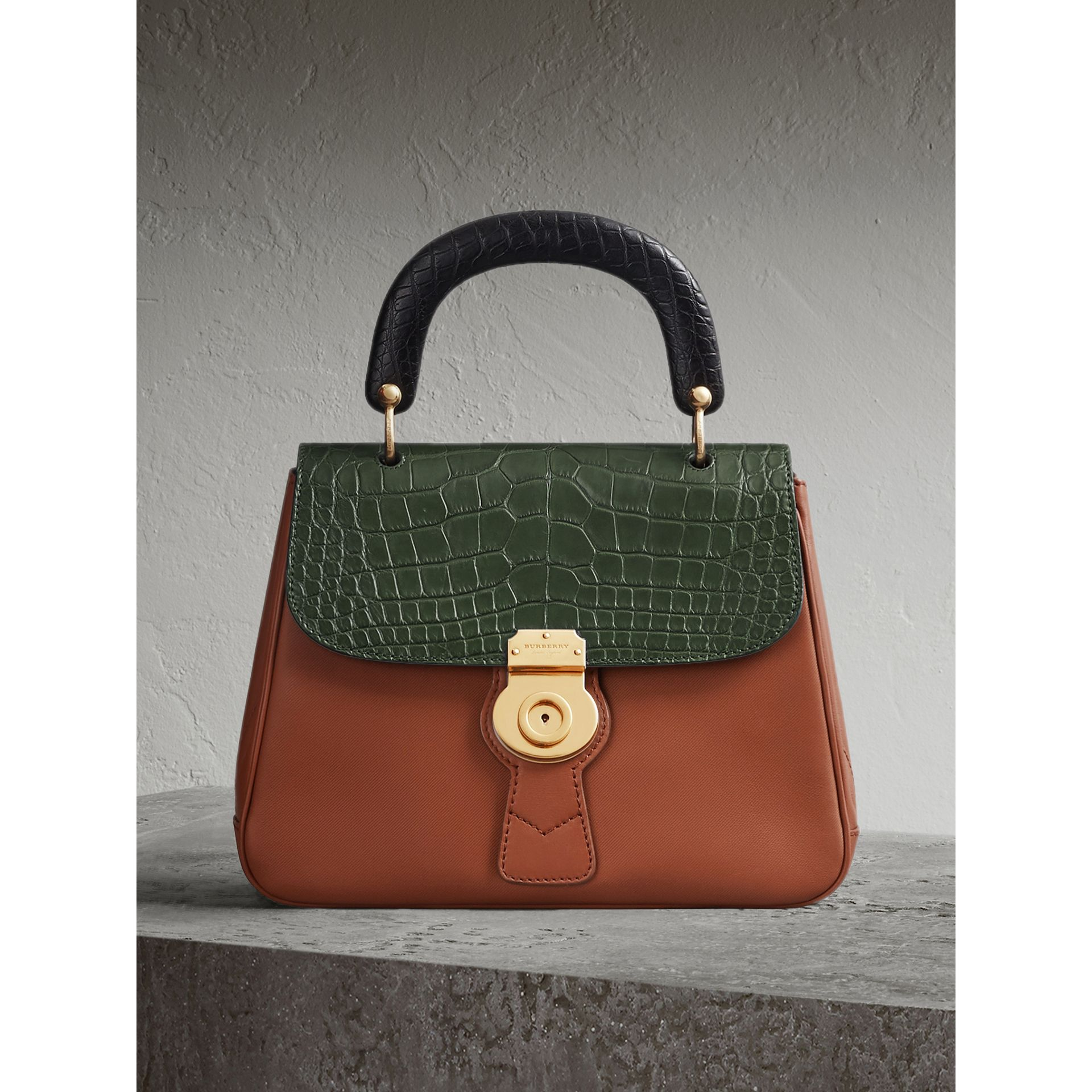 The Medium DK88 Top Handle Bag with Alligator in Tan/dark Forest Green - Women | Burberry Canada - gallery image 0