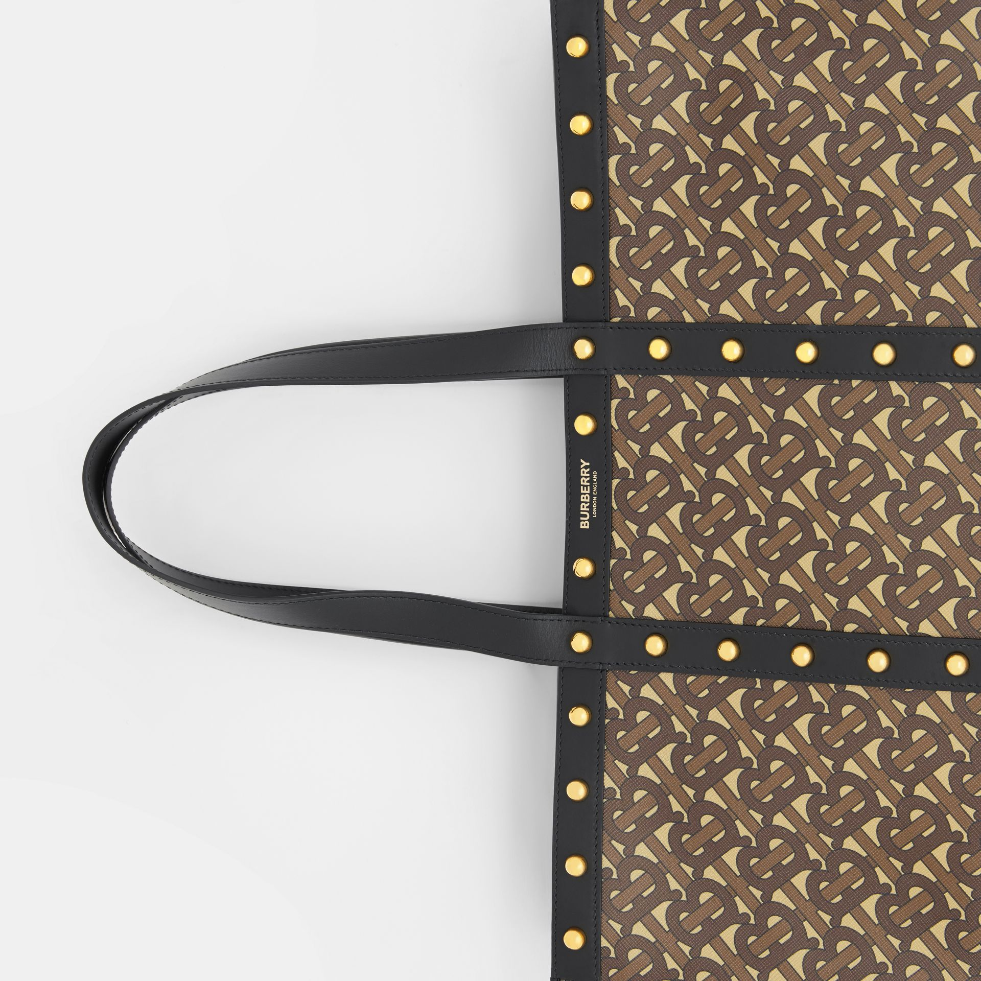 Monogram Print E-canvas Tote Bag in Black | Burberry - gallery image 1