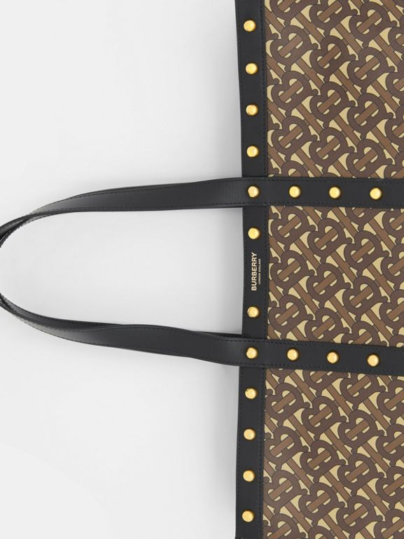 Monogram Print E-canvas Tote Bag in Black | Burberry Canada - cell image 1