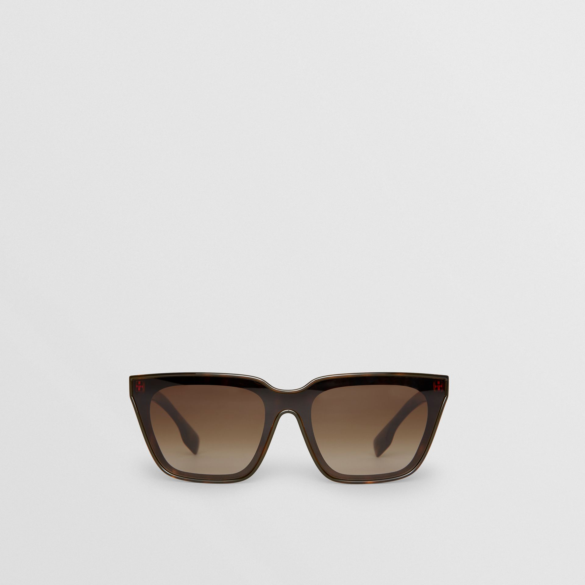Square Frame Shield Sunglasses in Tortoise Shell - Women | Burberry - gallery image 0
