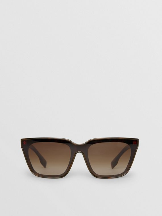 Square Frame Shield Sunglasses in Tortoise Shell