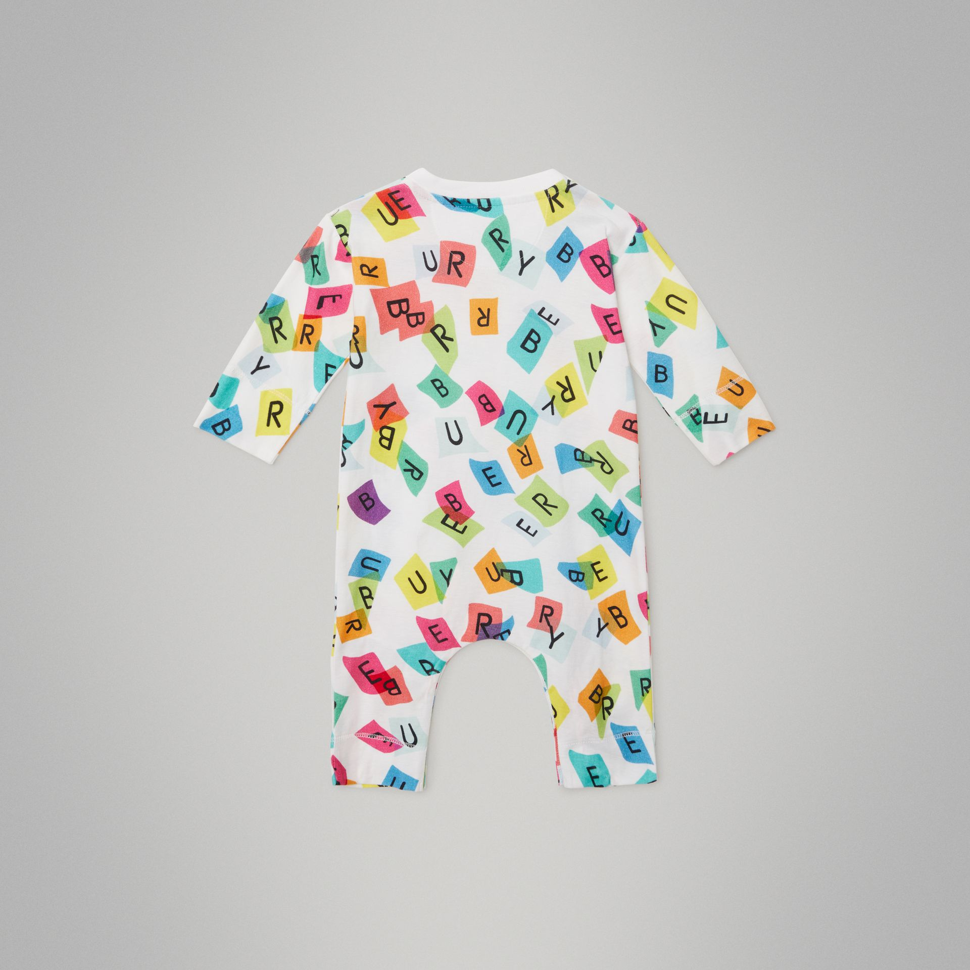 Confetti Letter Print Cotton Jumpsuit in White - Children | Burberry United Kingdom - gallery image 3