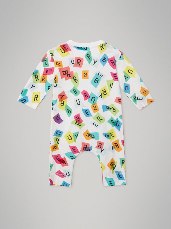 Confetti Letter Print Cotton Jumpsuit in White - Children | Burberry United Kingdom - cell image 3