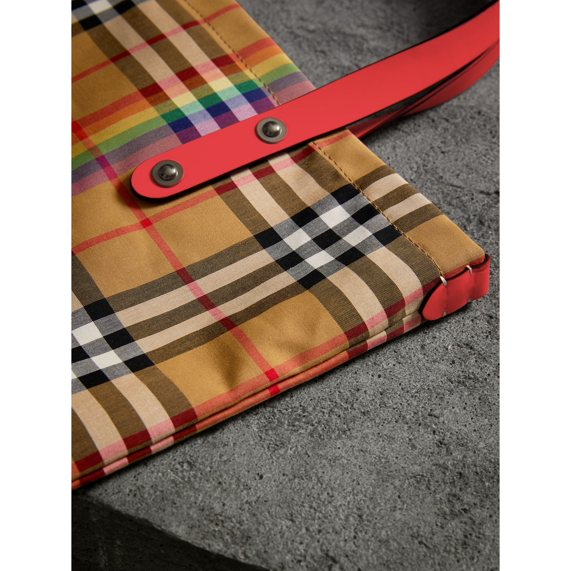 Large Rainbow Vintage Check Shopper in Bright Peony | Burberry - gallery image 1