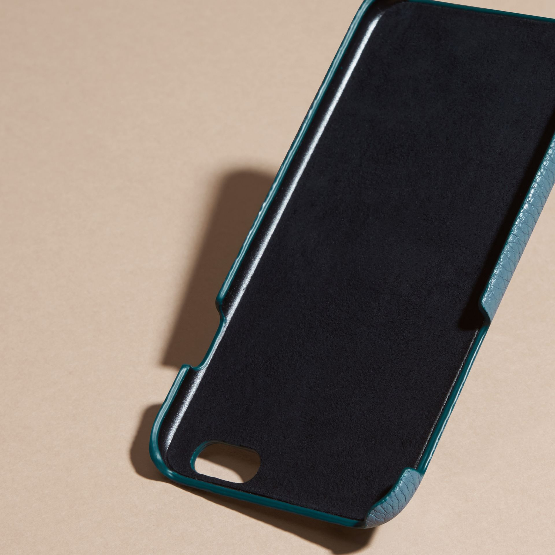 Grainy Leather iPhone 6 Case in Dusty Teal | Burberry Australia - gallery image 4
