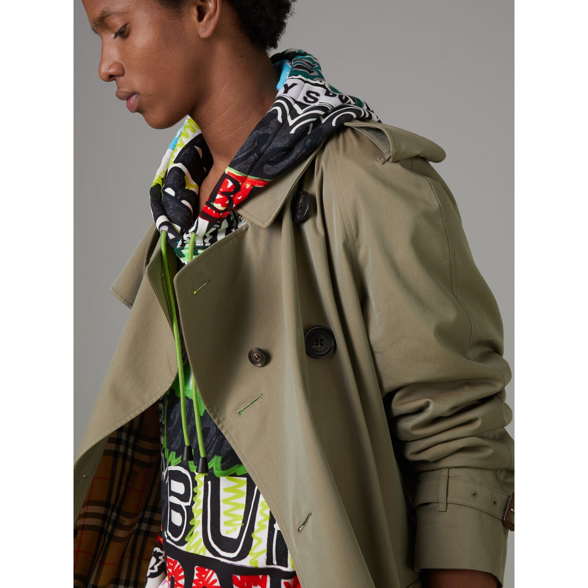 Tropical Gabardine Oversized Trench Coat in Chalk Green - Men | Burberry Australia - gallery image 1