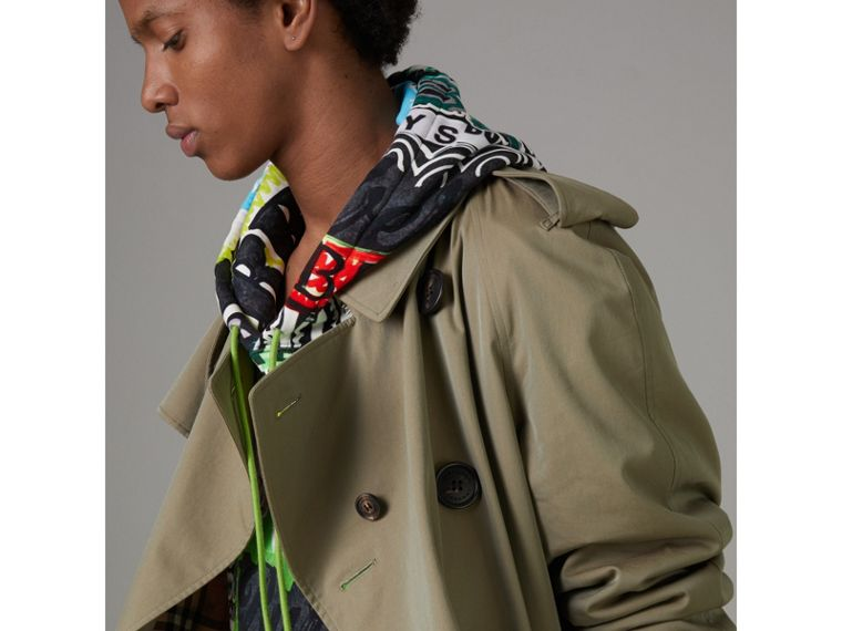 Tropical Gabardine Oversized Trench Coat in Chalk Green - Men | Burberry - cell image 1