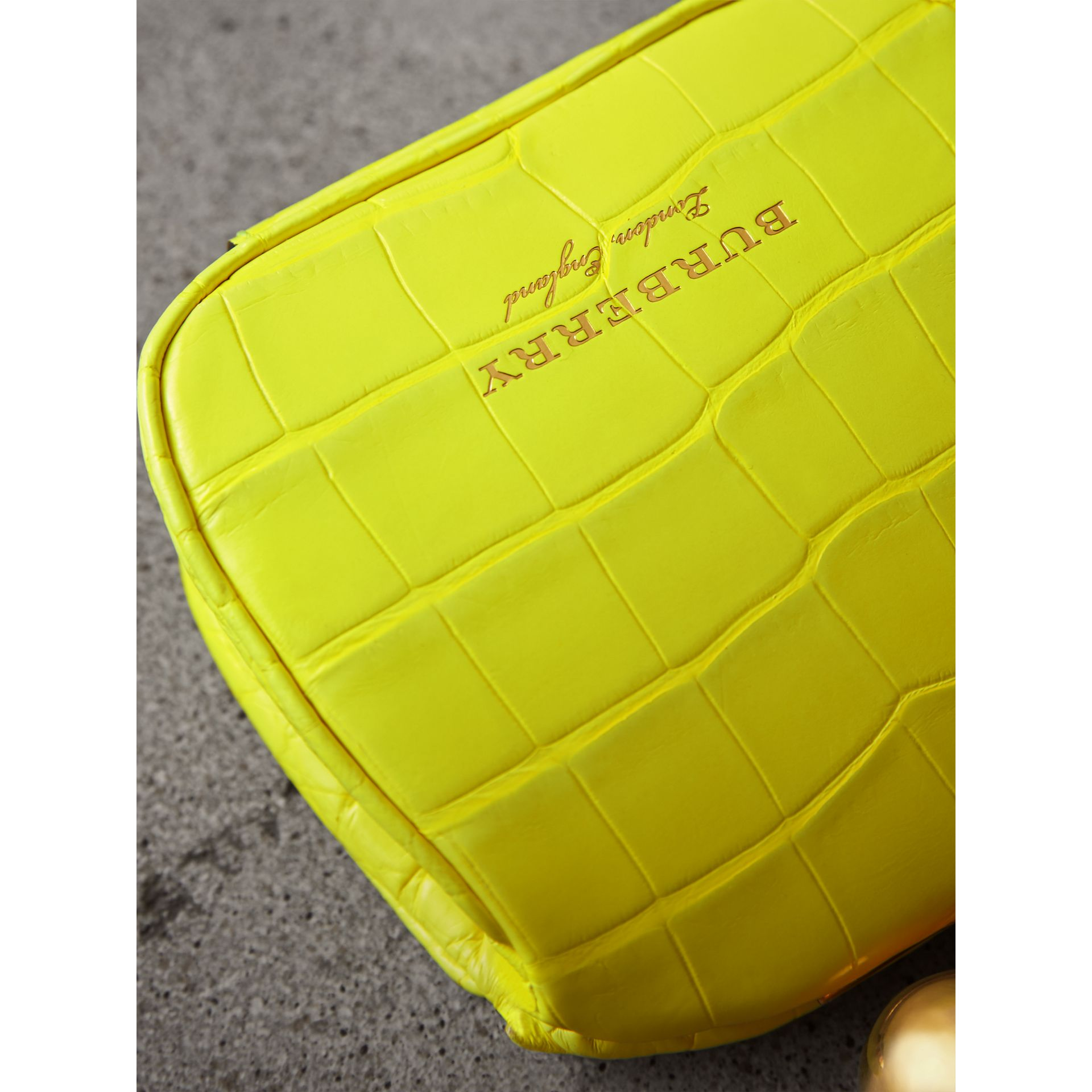 Mini Alligator Frame Bag in Neon Yellow - Women | Burberry - gallery image 1