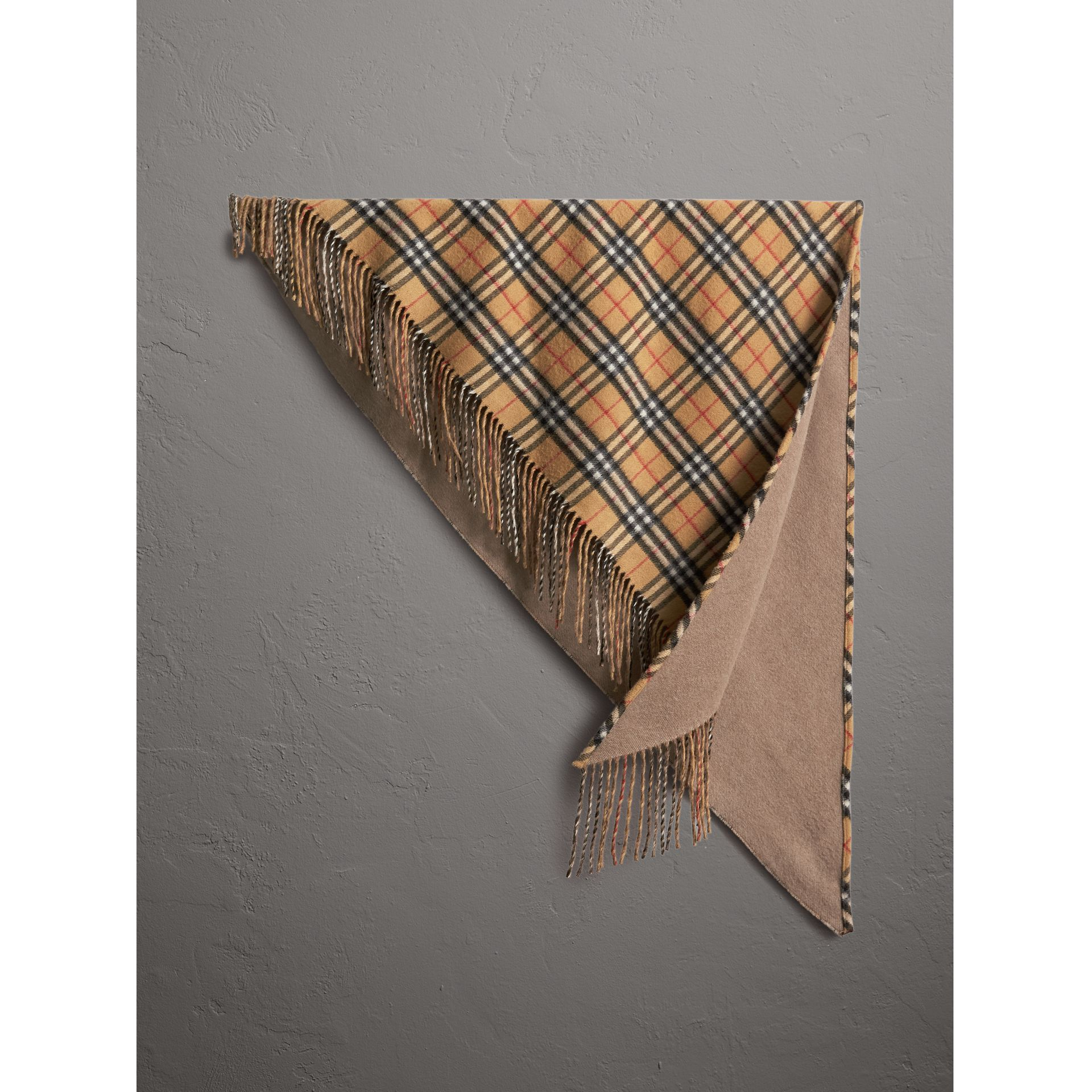 The Burberry Bandana in Vintage Check Cashmere in Sandstone | Burberry - gallery image 0