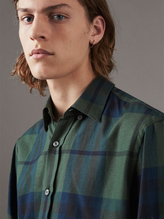 Check Cotton Cashmere Flannel Shirt in Forest Green