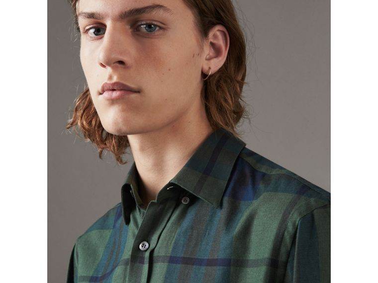 Check Cotton Cashmere Flannel Shirt in Forest Green - Men | Burberry Singapore - cell image 1