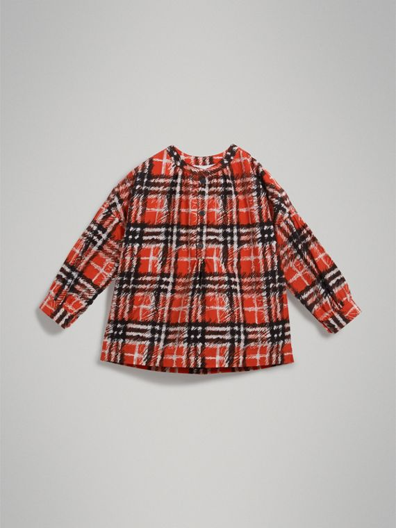 Scribble Check Print Cotton Tunic Shirt in Bright Red