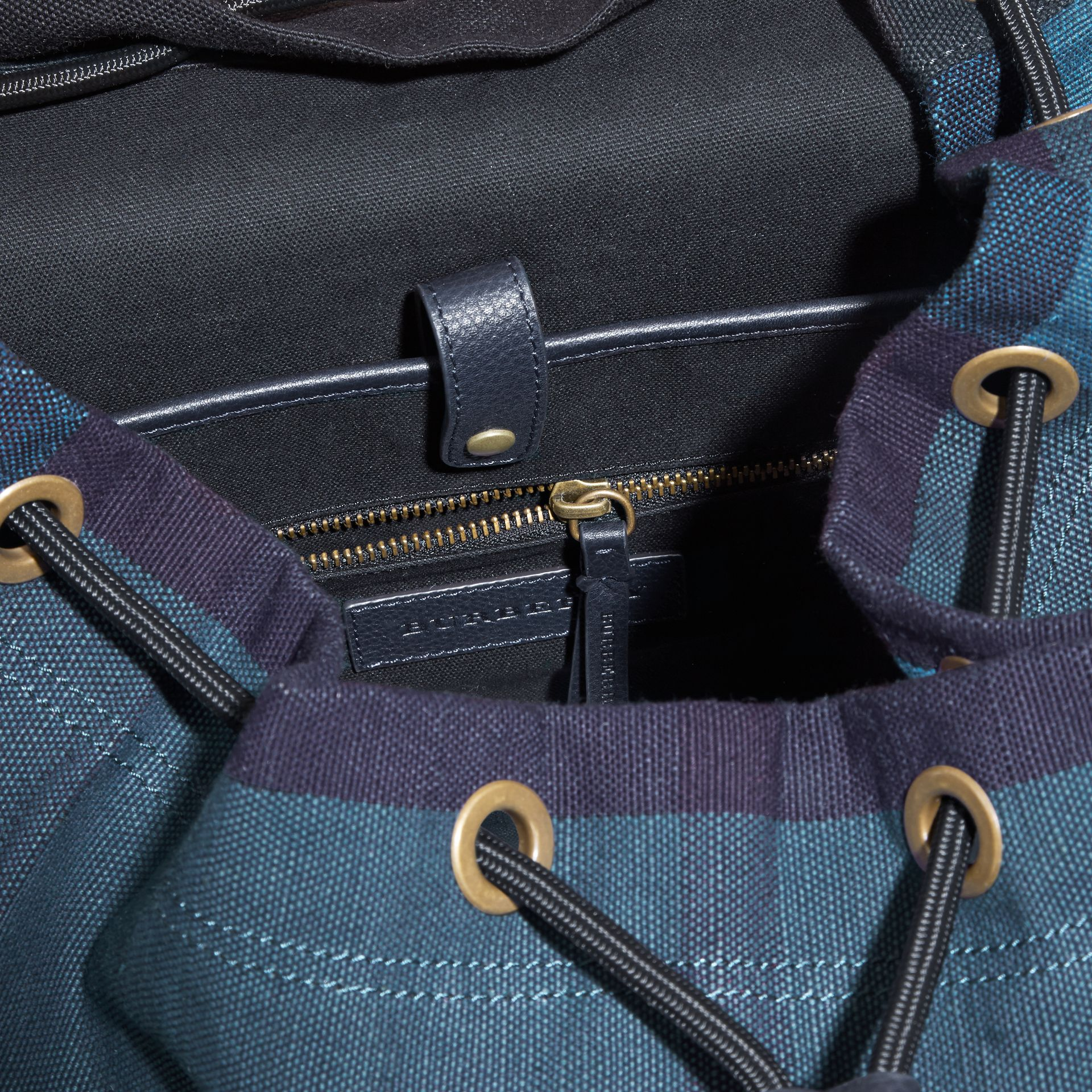 Ultramarine blue Overdyed Canvas Check Backpack Ultramarine Blue - gallery image 5