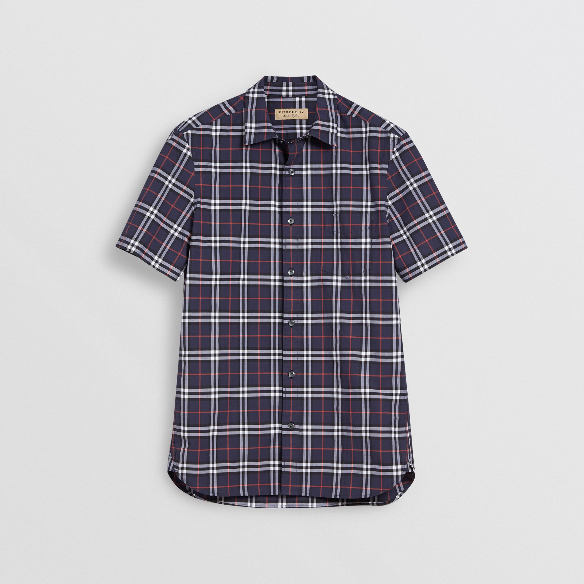 Short-sleeve Check Cotton Shirt in Navy - Men | Burberry United Kingdom - gallery image 3