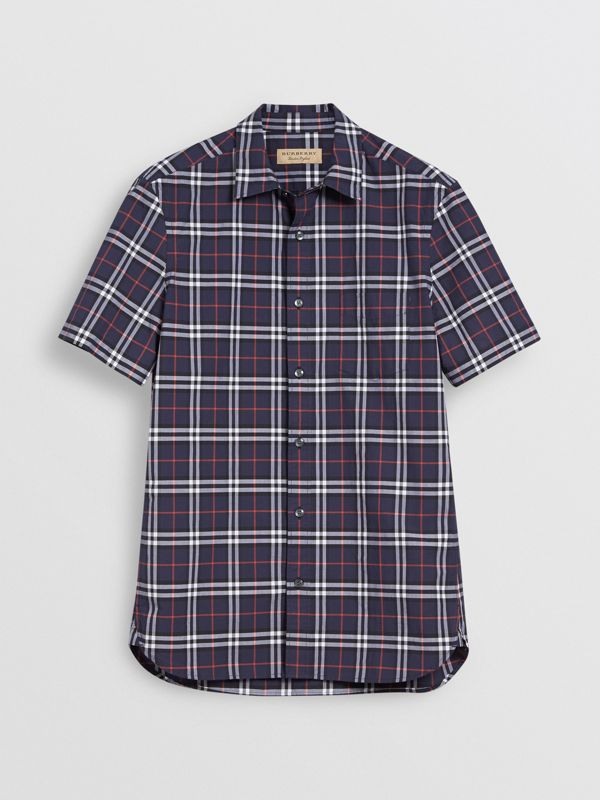 Short-sleeve Check Cotton Shirt in Navy - Men | Burberry United Kingdom - cell image 3