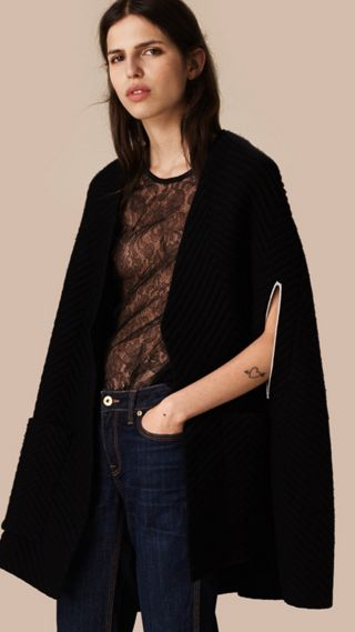 Ribbed-knit Cashmere Wool Cape