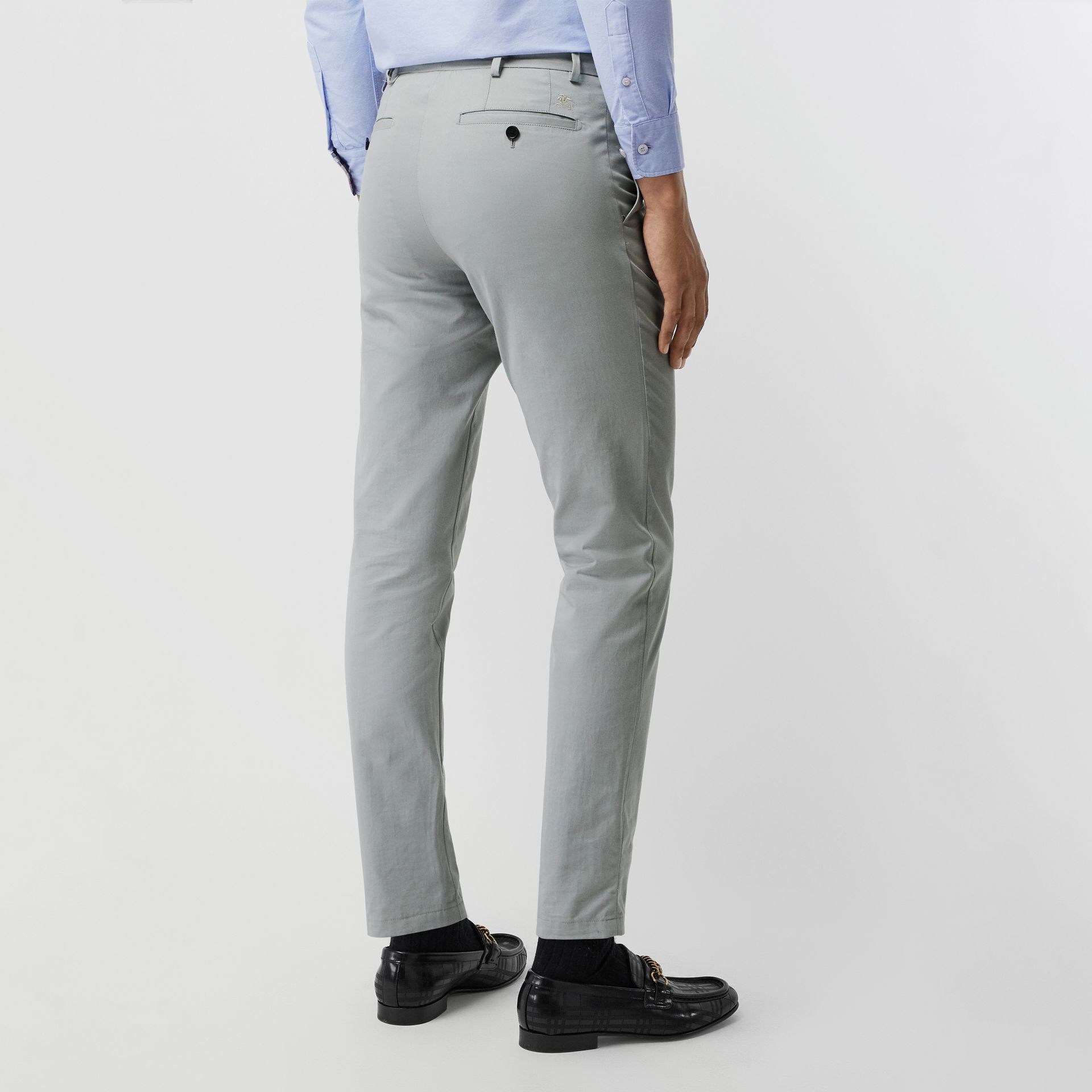 Slim Fit Cotton Chinos in Blue Grey - Men | Burberry - gallery image 2