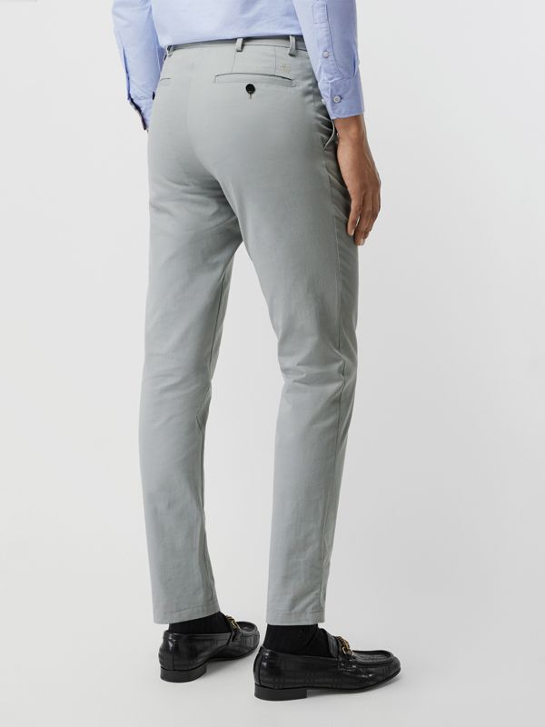 Slim Fit Cotton Chinos in Blue Grey - Men | Burberry United Kingdom - cell image 2