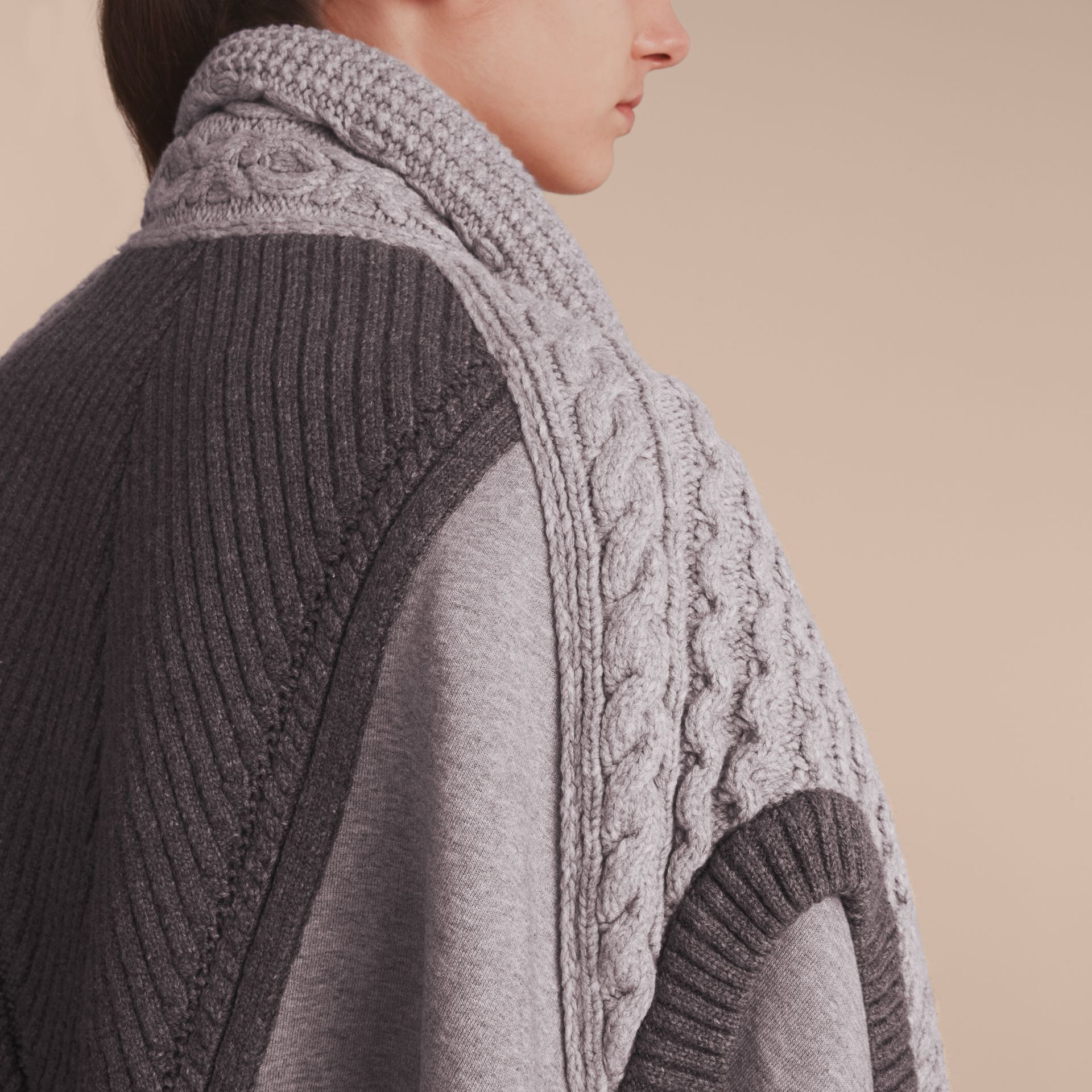 Cable Knit Cotton Blend Panelled Poncho in Grey Melange - Women | Burberry Australia - gallery image 5