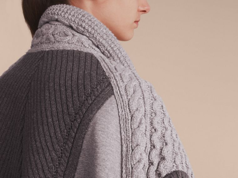 Cable Knit Cotton Blend Panelled Poncho in Grey Melange - Women | Burberry Singapore - cell image 4
