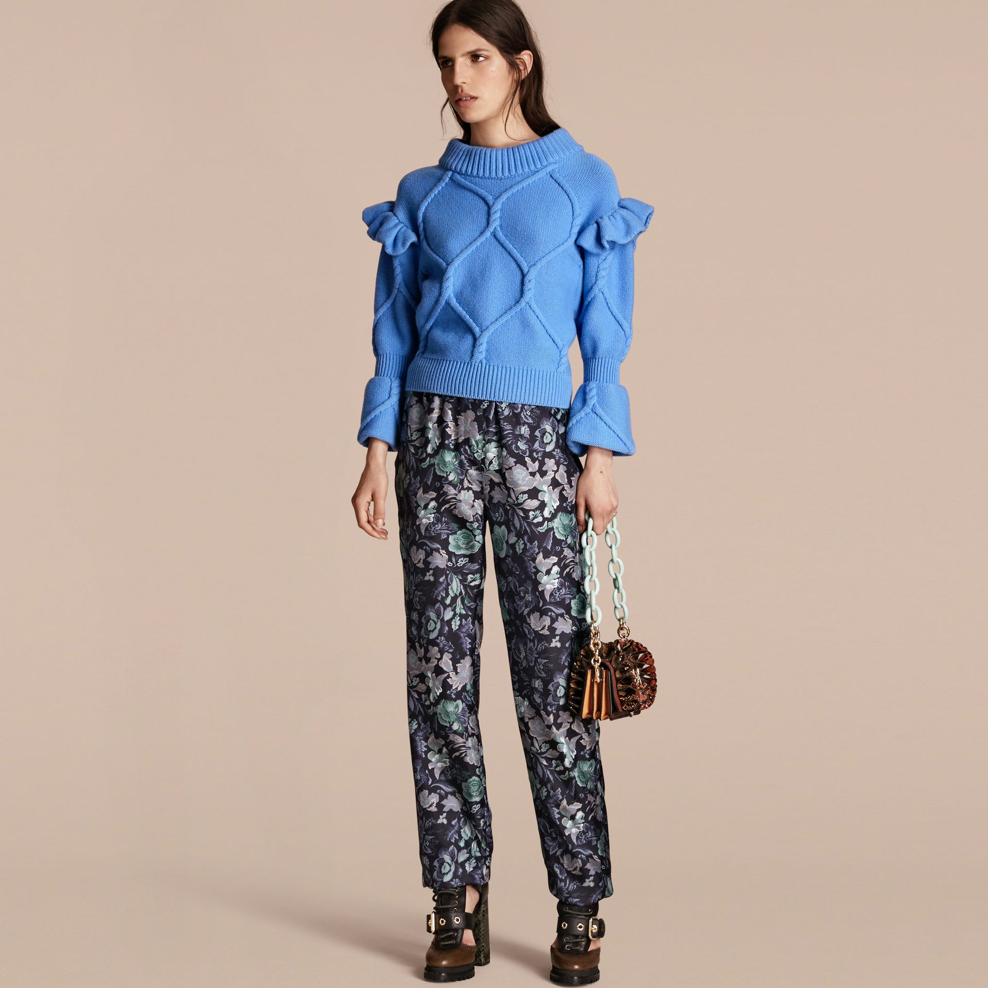 Hydrangia blue Ruffle-sleeved Cable Knit Wool Cashmere Sweater - gallery image 1