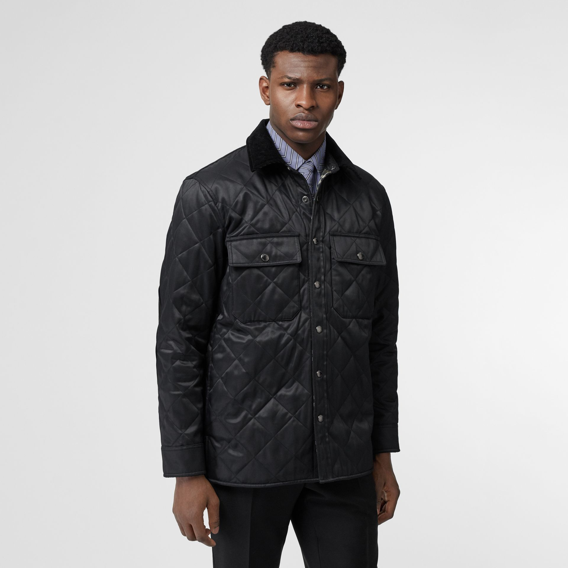 Diamond Quilted Thermoregulated Overshirt in Black - Men | Burberry - gallery image 5