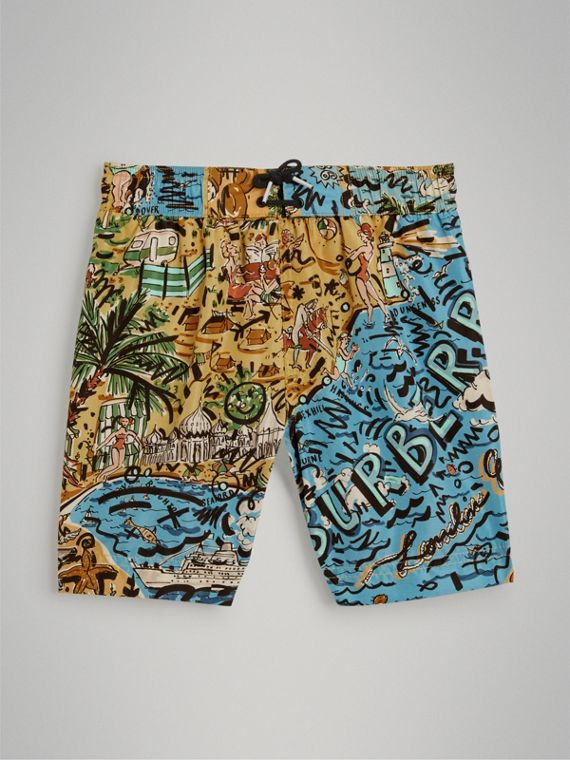 Seaside Print Swim Shorts in Sand