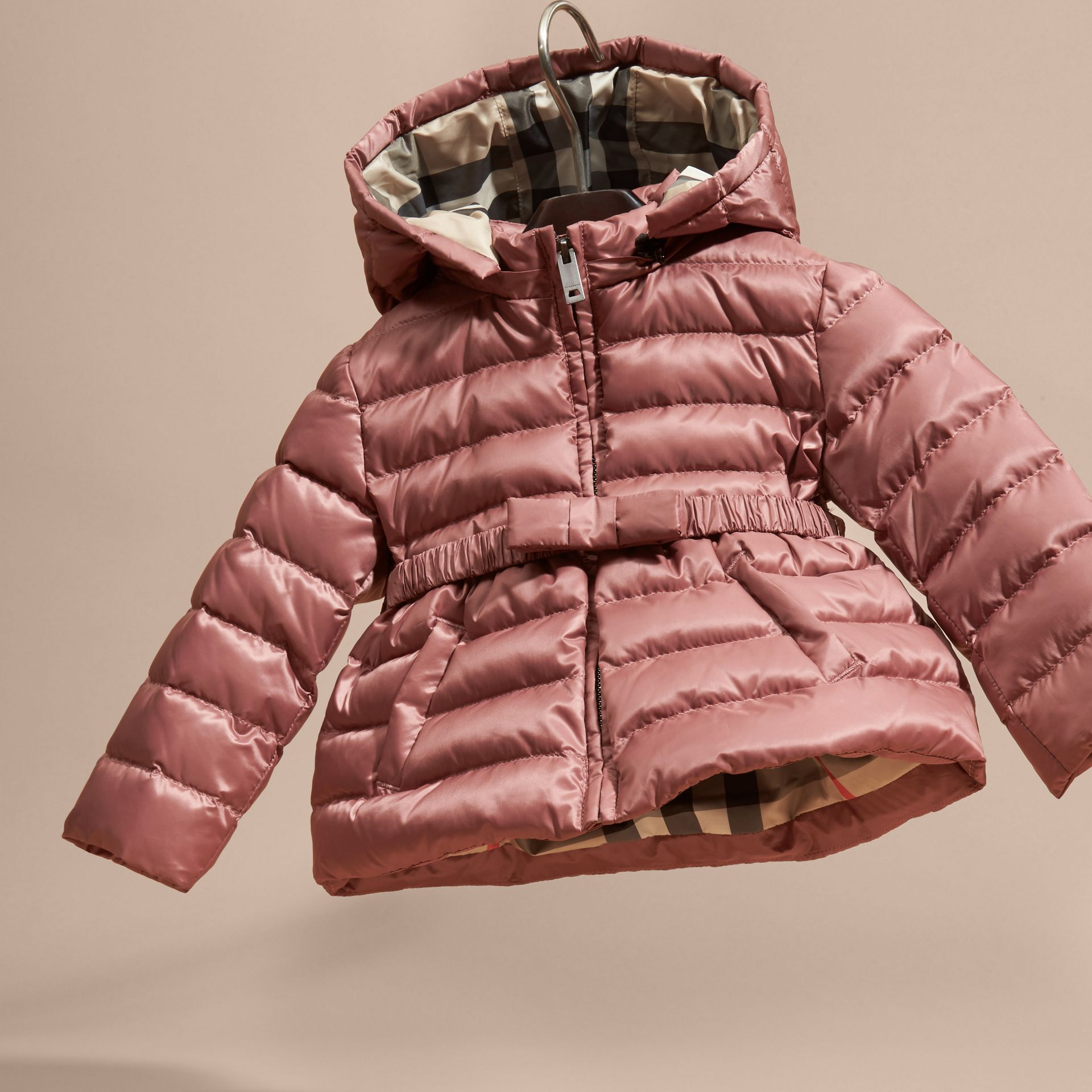 Antique rose Bow Detail Down-filled Puffer Jacket - gallery image 3