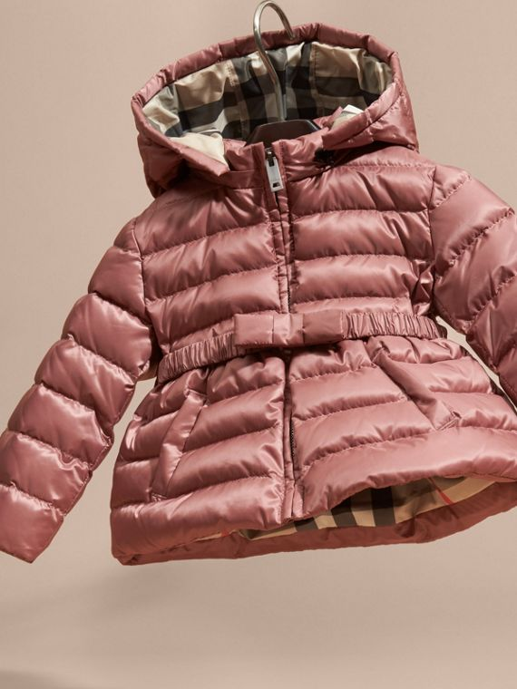 Antique rose Bow Detail Down-filled Puffer Jacket - cell image 2