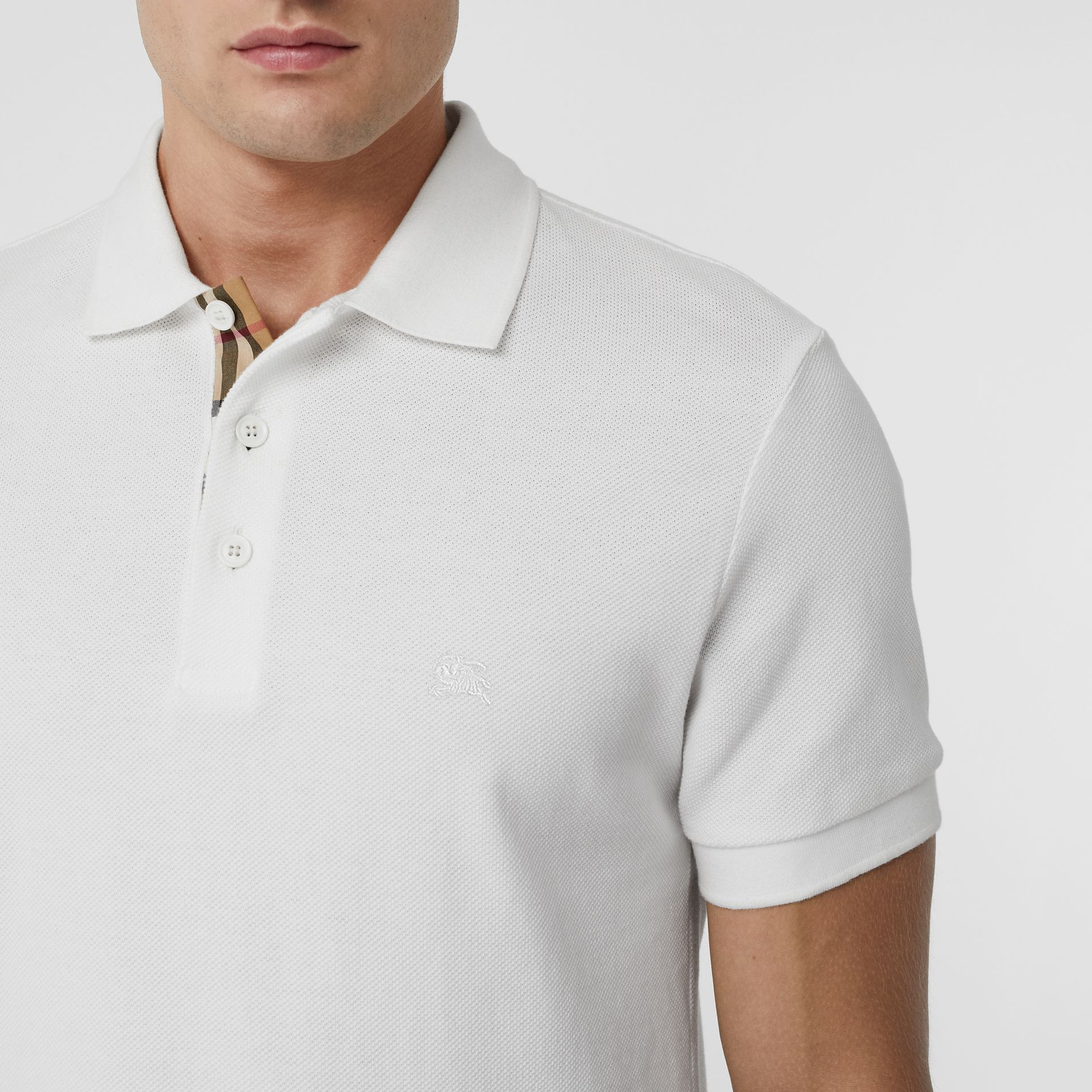 Check Placket Cotton Polo Shirt in White - Men | Burberry United States - gallery image 1